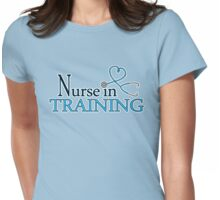Nurse in Training Blue Heart Stethoscope Womens Fitted T-Shirt