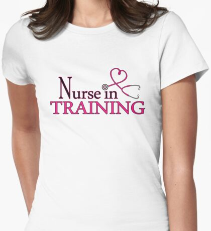 Nurse in Training Pink Heart Stethoscope Womens Fitted T-Shirt