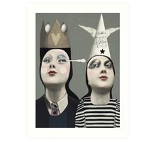 The Girls With Hats Art Print