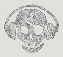 Pirate Skull with headphones floral pattern. by SoftSocks