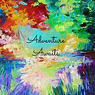 ADVENTURE AWAITS Colorful Abstract Acrylic Nature Painting Hipster Typography Wanderlust by EbiEmporium