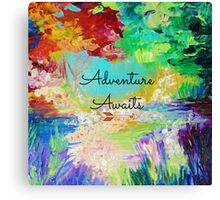 ADVENTURE AWAITS Colorful Abstract Acrylic Nature Painting Hipster Typography Wanderlust Canvas Print