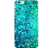 DREAM Colorful Blue Green Typography Ocean Ombre Fine Art Abstract Painting iPhone Case/Skin