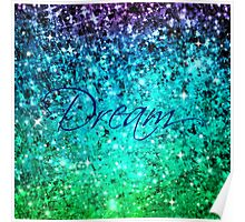 DREAM Colorful Blue Green Typography Ocean Ombre Fine Art Abstract Painting Poster