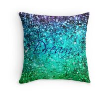 DREAM Colorful Blue Green Typography Ocean Ombre Fine Art Abstract Painting Throw Pillow