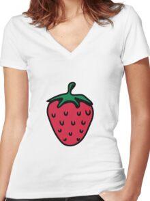 Strawberry fruit organic fruit Women's Fitted V-Neck T-Shirt