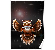 Surreal Owl Metallic Flying on the Night 3d Poster