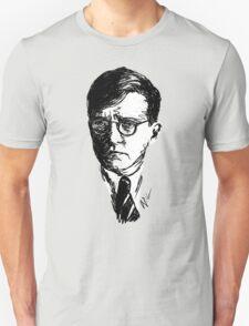 Shostakovich drawing in black on white T-Shirt