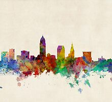 Cleveland Ohio Skyline Cityscape by Michael Tompsett
