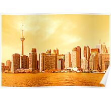 Toronto Skyline in Red Poster
