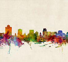 Salt Lake City Skyline Cityscape by Michael Tompsett