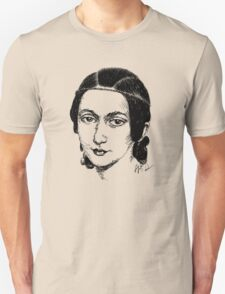 Clara Schumann drawing in black T-Shirt