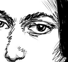 Clara Schumann drawing in black Sticker