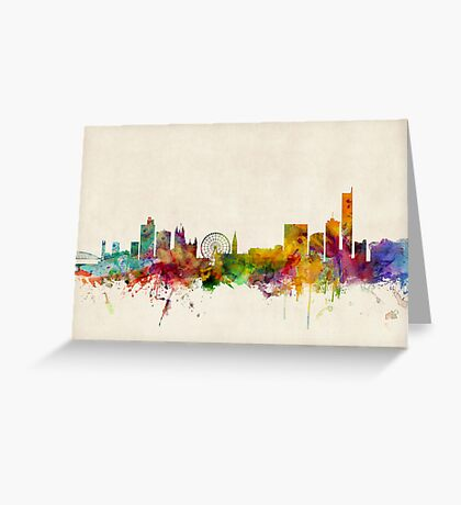 Manchester England Skyline Cityscape Greeting Card