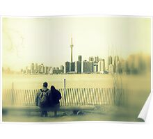 Toronto Blurry Romance in Yellow Poster