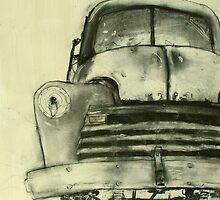 old truck charcoal by donnamalone