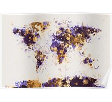 World Map Paint Splashes Poster