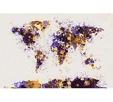 World Map Paint Splashes Photographic Print
