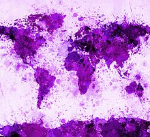 World Map Paint Splashes Purple by ArtPrints