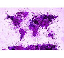 World Map Paint Splashes Purple Photographic Print