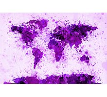 World Map Paint Splashes Purple Photographic Print