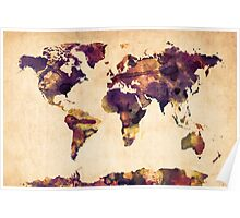 World Map Watercolor Poster