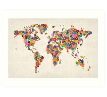 Flowers Map of the World Map Art Print