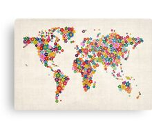 Flowers Map of the World Map Metal Print