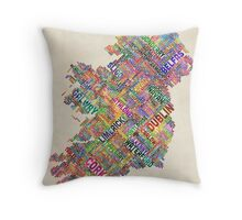 Ireland Eire City Text map Throw Pillow