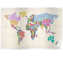 Text Map of the World Map Poster