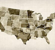 United States Watercolor Map by Michael Tompsett
