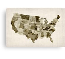 United States Watercolor Map Canvas Print