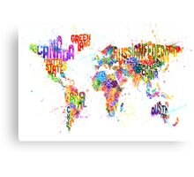 Paint Splashes Text Map of the World Canvas Print