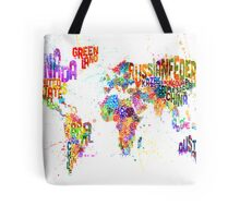 Paint Splashes Text Map of the World Tote Bag