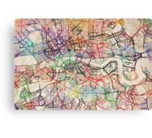 Watercolour Map of London Canvas Print