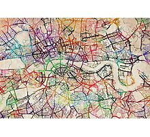 Watercolour Map of London Photographic Print