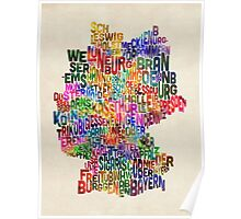 Text Map of Germany Map Poster