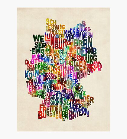 Text Map of Germany Map Photographic Print