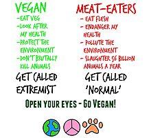 Open Your Eyes - Go Vegan! Photographic Print
