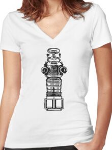 Lost In Space, Robot, Space, Science Fiction, Planets Women's Fitted V-Neck T-Shirt