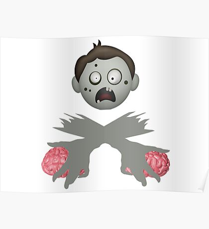Zombie Head Crossed Arms & Brains Poster