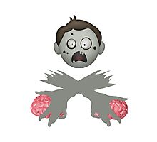 Zombie Head Crossed Arms & Brains Photographic Print