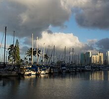 Dramatic Tropical Storm Light Over Ala Wai Harbor, Honolulu, Hawaii  by Georgia Mizuleva