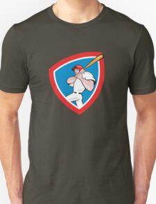Baseball Player Batting Crest Red Cartoon Unisex T-Shirt