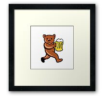 Bear Beer Mug Running Side Cartoon Framed Print