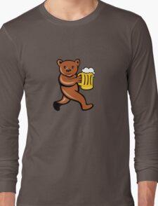 Bear Beer Mug Running Side Cartoon Long Sleeve T-Shirt