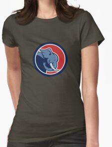 Angry Elephant Head Side Cartoon Womens Fitted T-Shirt