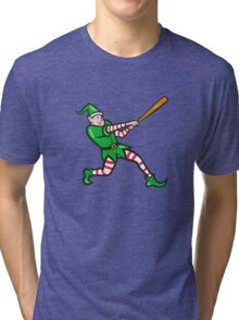 Elf Baseball Player Batting Isolated Cartoon Tri-blend T-Shirt