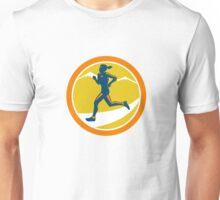 Female Triathlete Runner Running Retro Unisex T-Shirt
