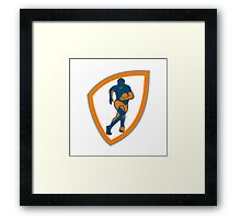 Rugby Player Running Shield Silhouette Framed Print